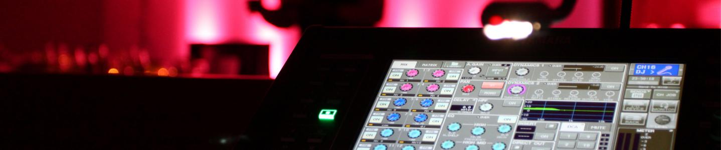 Sound engineering - Detail shot of a digital mixing console