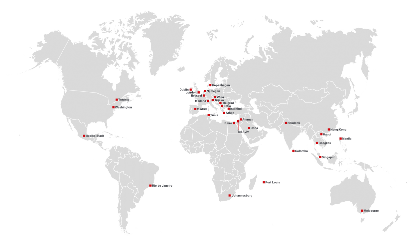 Overview of the worldwide subsidiaries and partners of Brähler Convention
