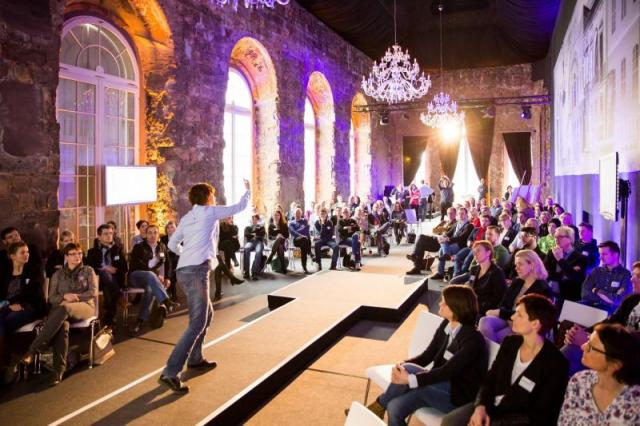Moderation on runway stage in historic palace