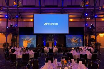 Stage construction at the gala evening of Topcon