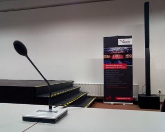 Brähler Convention's microphone and roll-up at the sponsoring event
